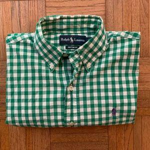 Men's Ralph Lauren Green White Gingham Shirt, S
